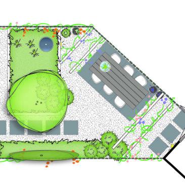 Moderne zonnige tuin in Leusden